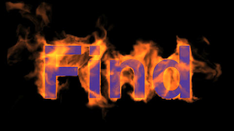 flame blue find word,fire text Animation