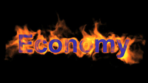 flame blue economy word,fire text Stock Video Footage