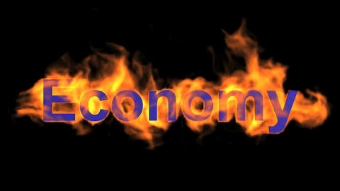 flame blue economy word,fire text Animation
