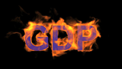 flame blue GDP word,fire text Animation