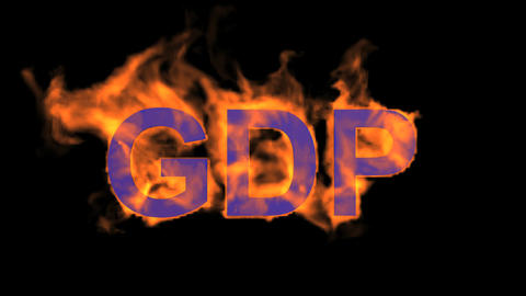 flame blue GDP word,fire text Stock Video Footage