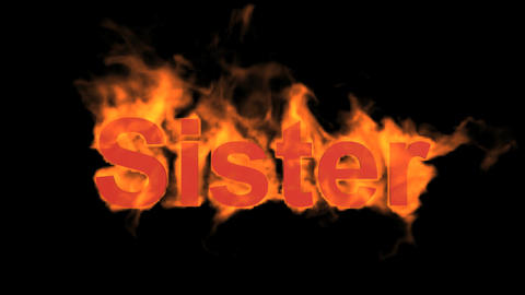 flame sister word,fire text Stock Video Footage