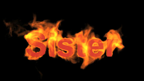 flame sister word,fire text Animation
