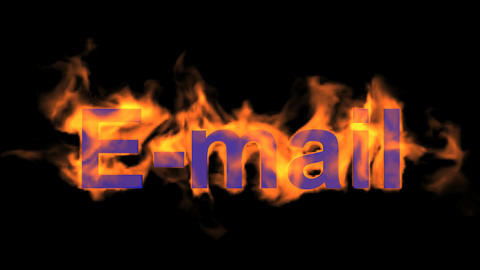 flame blue E-mail word,fire text Animation