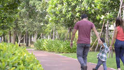 Young Happy Family Walking Together in the Park Stock Video Footage