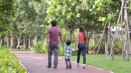 Young Happy Family Walking Together In The Park stock footage