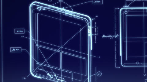 Tablet Computer Technical Design Animation Stock Video Footage
