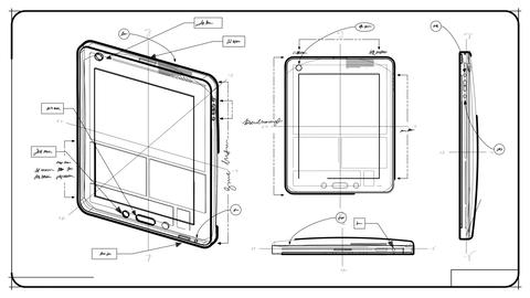 Tablet PC Technical Drawing stock footage