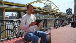 Man Uses Tablet PC Footage