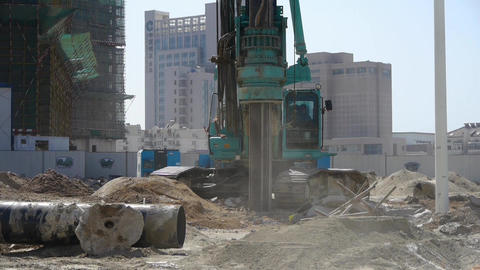 drill machinery drilling in land,Construction site Stock Video Footage