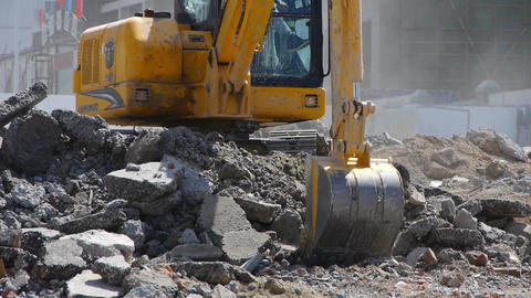 Excavator working on construction site Footage
