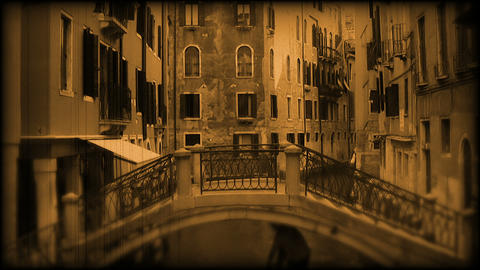 Canal in Venice. Old film Footage