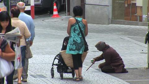 beggar in Lausanne Footage
