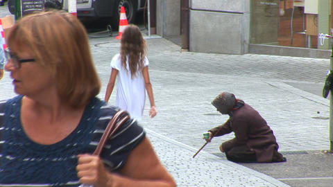 beggar in Lausanne Stock Video Footage