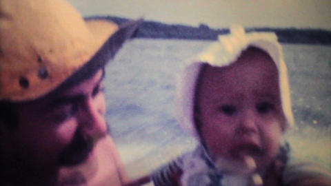 Dad Takes His Baby For Speed Boat Ride 1979 Vintage 8mm film Stock Video Footage
