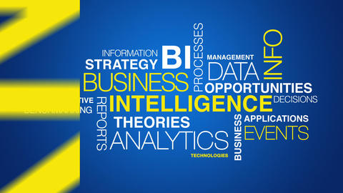 Business intelligence word cloud text animation Stock Video Footage