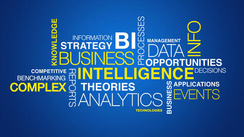 Business intelligence word cloud text animation Animation