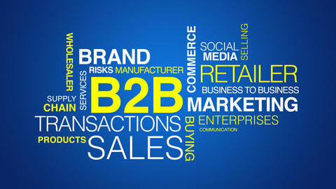 Business to Business word cloud text animation Stock Video Footage