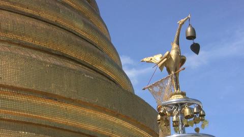 Temple Bells Blowing In Breeze Footage