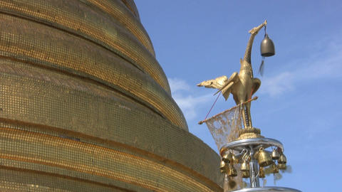 Temple Bells Blowing In Breeze Stock Video Footage