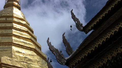 Temple Roof Decorations Stock Video Footage