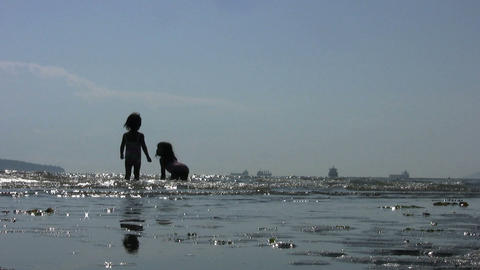 Two Little Girls Playing In The Surf Stock Video Footage
