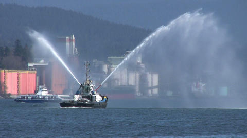 Tug Boat Spraying Water Backwards Footage
