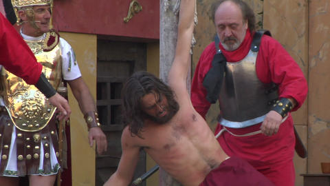 christ flagellation slow motion 02 Stock Video Footage