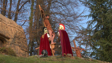 crucifixion robber legionaries 02 Stock Video Footage