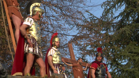 crucifixion robber legionaries 04 Stock Video Footage