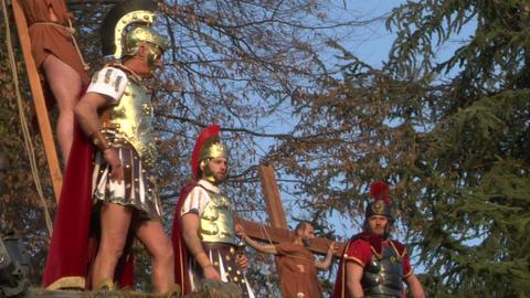 crucifixion robber legionaries 04 Stock Video Footage