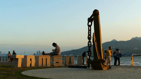 Large letters Tamsui at the Tamsui river at sunset Footage