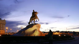 Famous Bronze Horseman equestrian statue of Peter The Great, sunset afterglow Footage