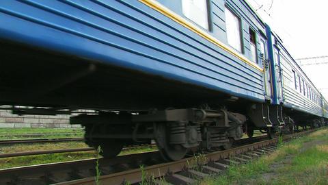 Blue passenger train Stock Video Footage