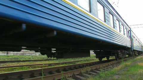 Blue passenger train Stock Video Footage