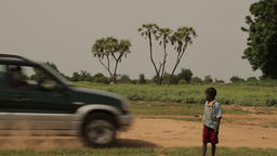 Niger, Africa. July 2013. Kids walking at a traditional village Footage