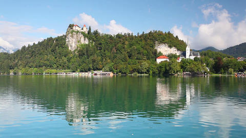 Famous castle on the Bled lake Footage