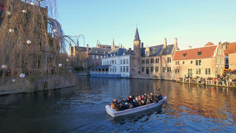 Traditional Canals in Bruges at Sunset Footage