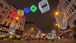 Colorful Christmas Illumination on the Streets of Brussels Footage