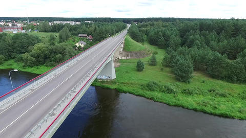 Panorama Over The Bridge Near River Footage
