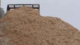 Loader moving chips from pile at paper mill Footage