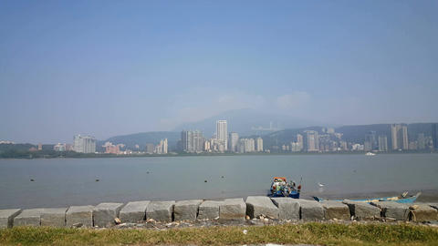 Skyline of Tamsui seen from Bali district Live Action