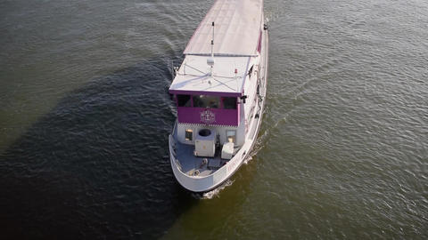 Aerial view of passenger ship Footage