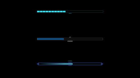 3 UI Loading Elements. HUD Concept Uploader, Downloader, Status Element Animación
