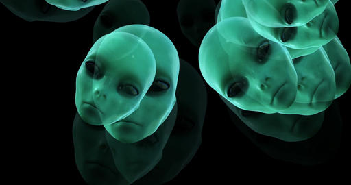 Digital animation of surreal alien heads Animation
