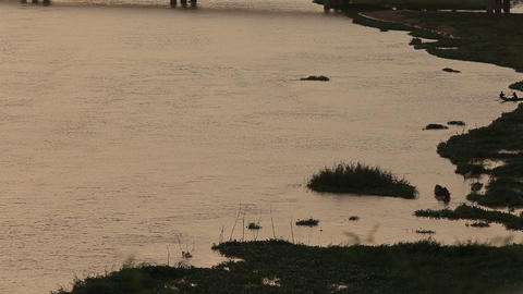 Wide shot of fishermen saling by the Niger river at dawn Footage
