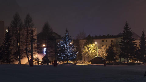Panorama over buildings and trees covered with snow illuminated by lamps and fog Footage