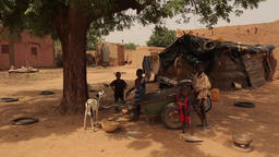 Niger, Africa. July 2013. Traditional village street scene Footage