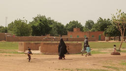 Niger, Africa. July 2013. Wide shot of shepherds guiding cattle Footage
