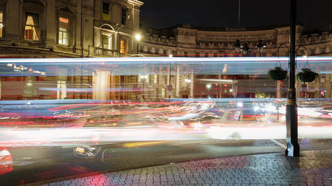 Car light trails night timelapse by the Admiralty Arch in London, England, UK Footage